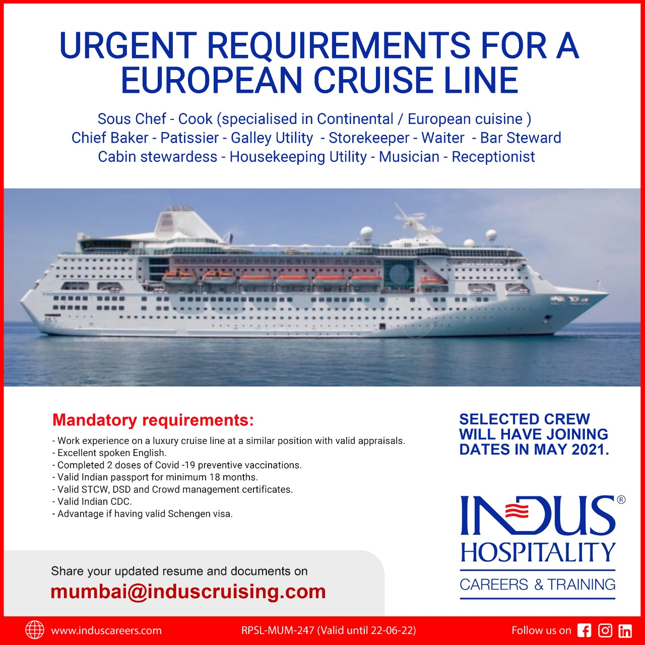 Requirement for European cruiseline